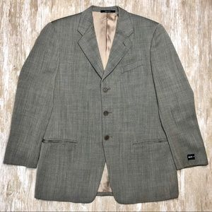 {MANI} Herringbone Wool 3 Button Blazer